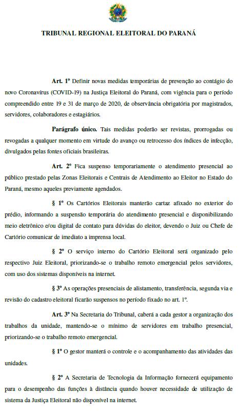 Forúm Eleitoral de Ubiratã divulga Portaria sobre medidas preventivas do COVID-19 (Coronavírus)