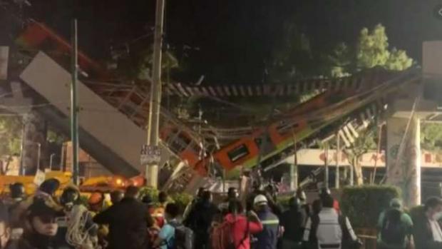 Queda de viaduto por onde passava metrô deixa mortos e feridos no México